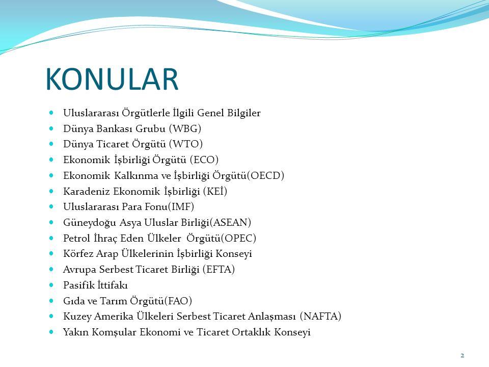 KONULAR Uluslararası Örgütlerle İlgili Genel Bilgiler