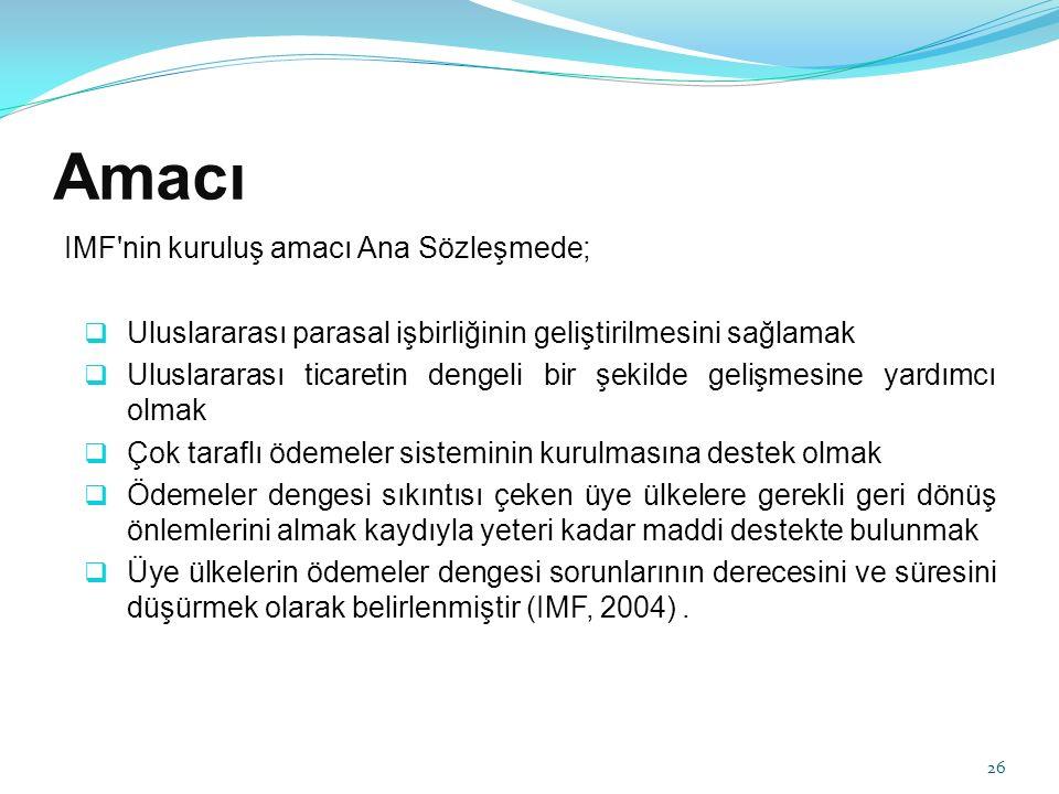 Amacı IMF nin kuruluş amacı Ana Sözleşmede;
