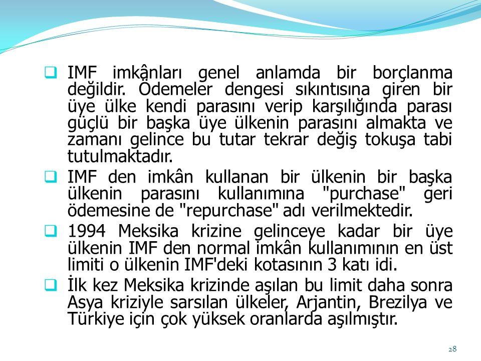 IMF imkânları genel anlamda bir borçlanma değildir