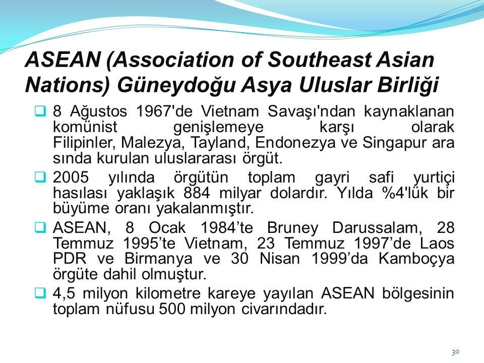 ASEAN (Association of Southeast Asian Nations) Güneydoğu Asya Uluslar Birliği