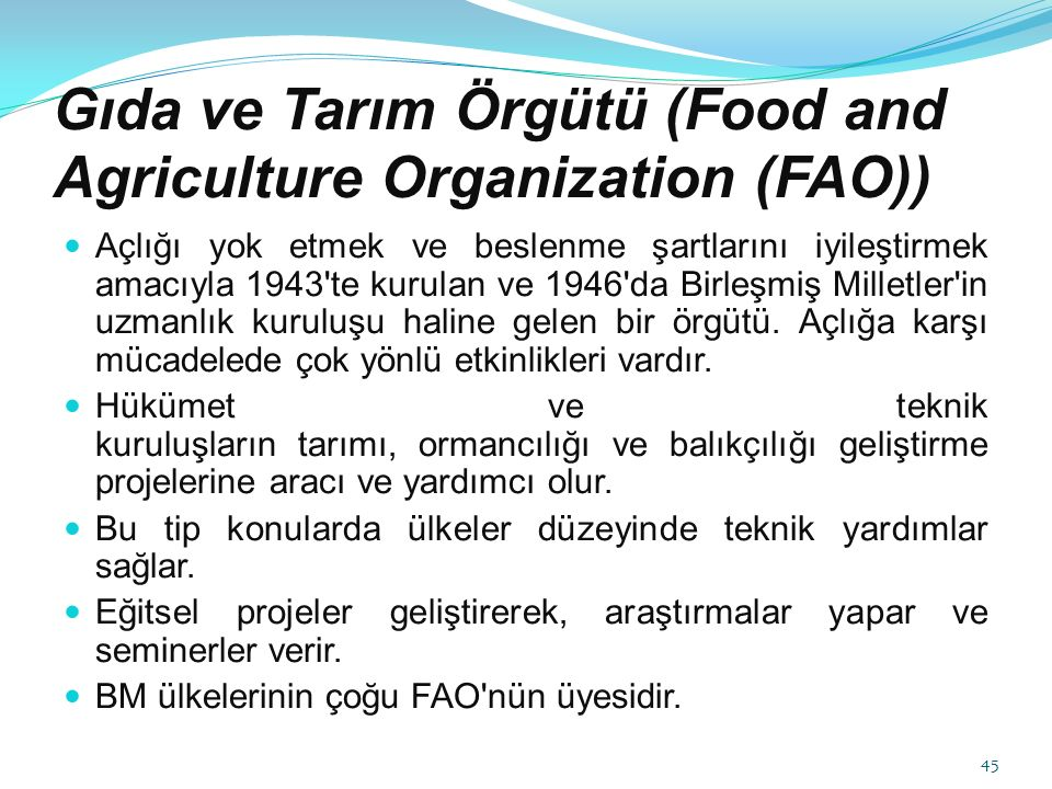Gıda ve Tarım Örgütü (Food and Agriculture Organization (FAO))