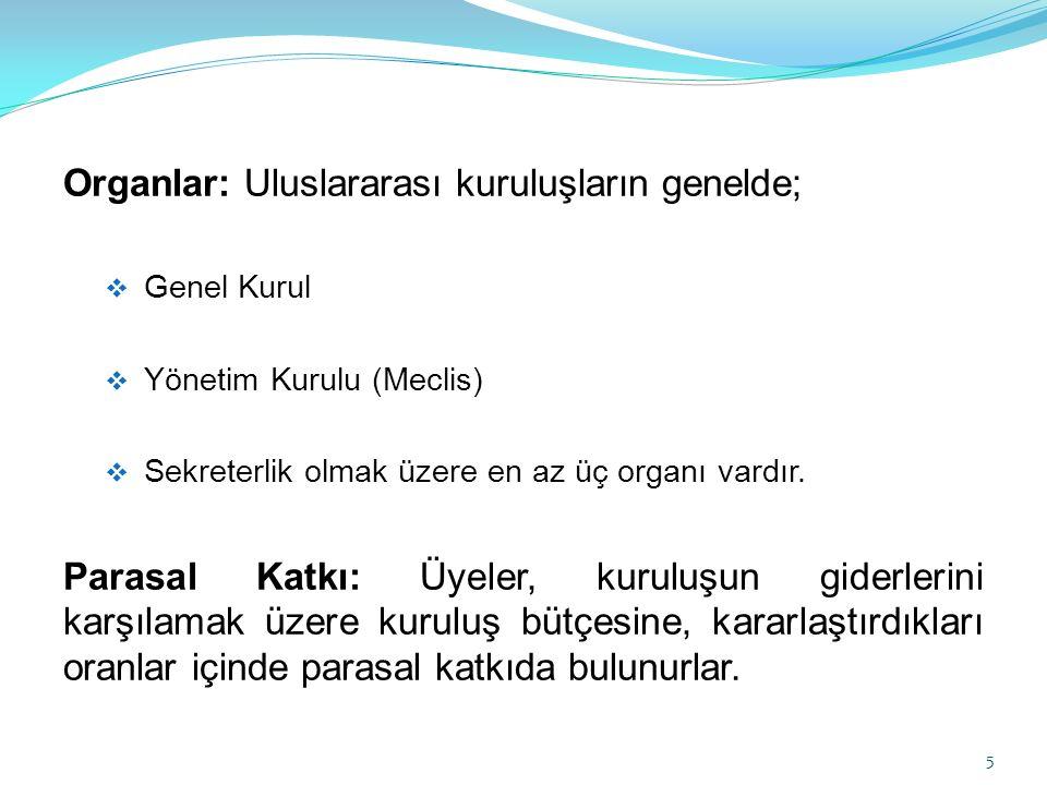 Organlar: Uluslararası kuruluşların genelde;