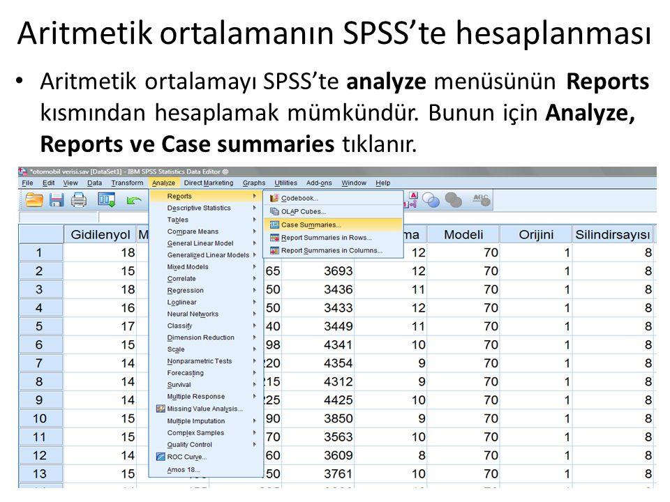 Aritmetik ortalamanın SPSS'te hesaplanması