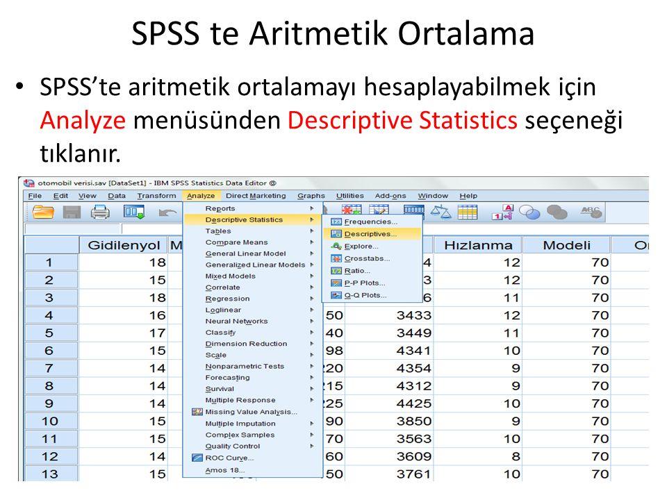 SPSS te Aritmetik Ortalama