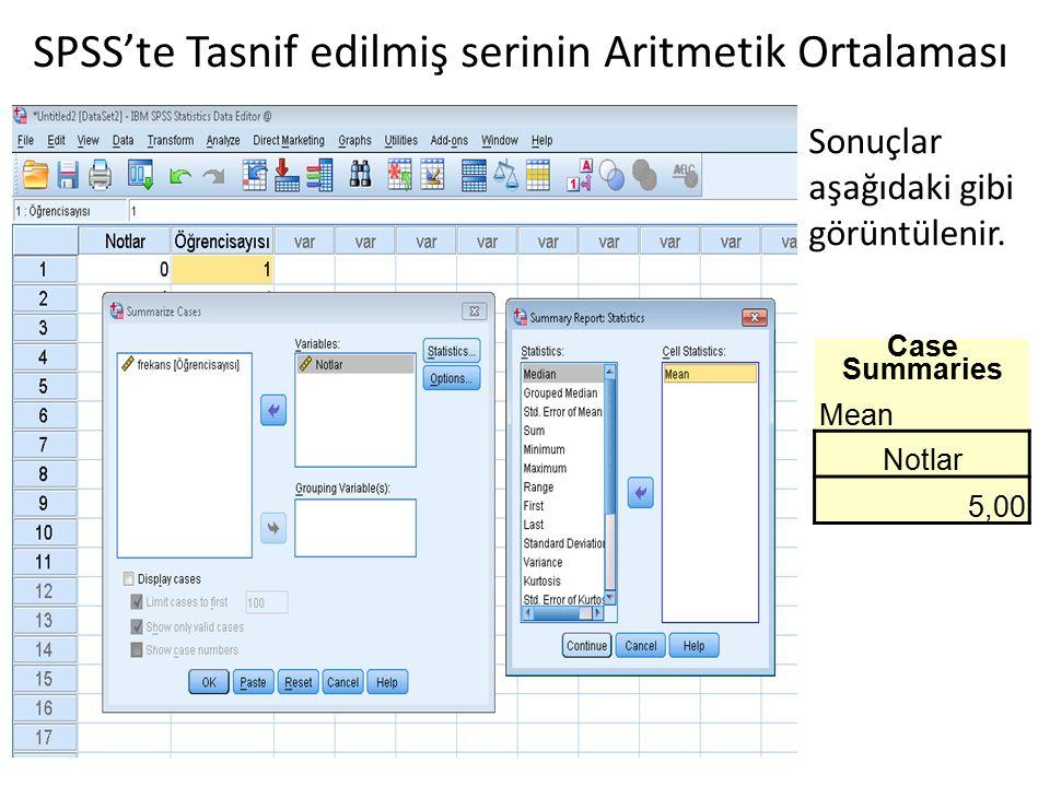 SPSS'te Tasnif edilmiş serinin Aritmetik Ortalaması