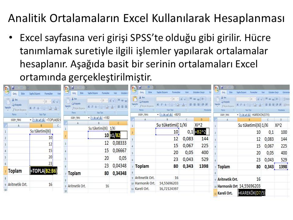 Analitik Ortalamaların Excel Kullanılarak Hesaplanması