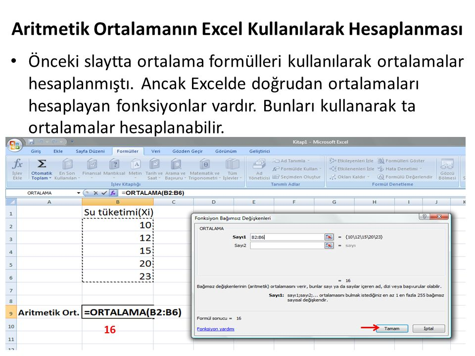 Aritmetik Ortalamanın Excel Kullanılarak Hesaplanması