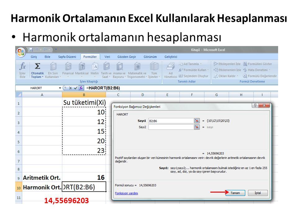 Harmonik Ortalamanın Excel Kullanılarak Hesaplanması