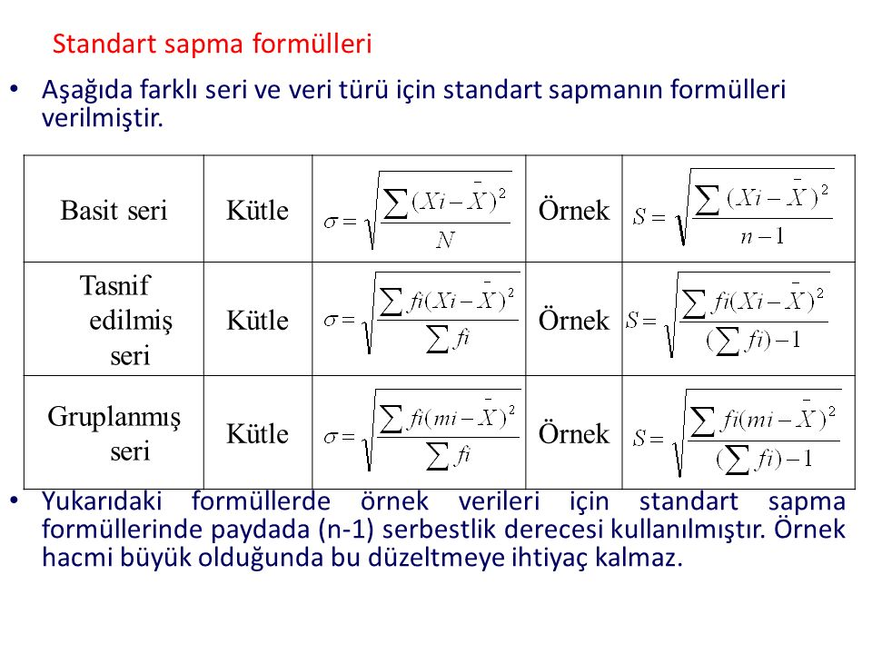 Standart sapma formülleri