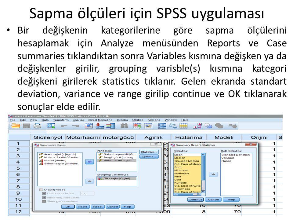 Sapma ölçüleri için SPSS uygulaması