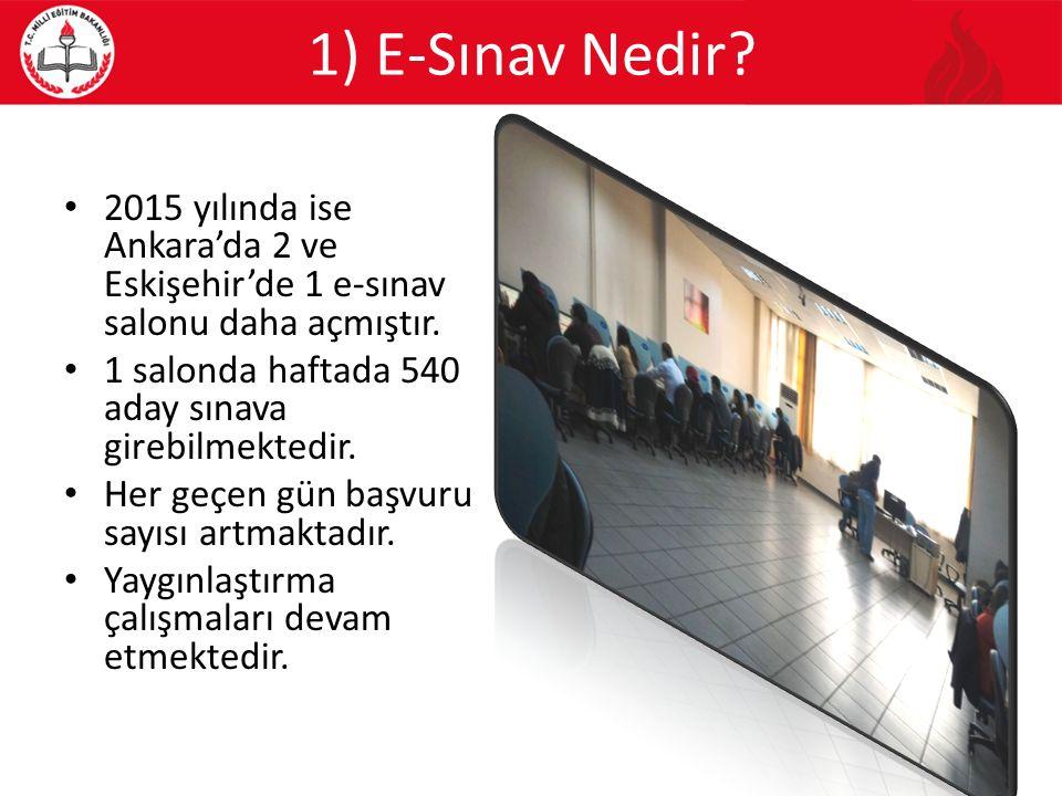 1) E-Sınav Nedir 2015 yılında ise Ankara'da 2 ve Eskişehir'de 1 e-sınav salonu daha açmıştır. 1 salonda haftada 540 aday sınava girebilmektedir.