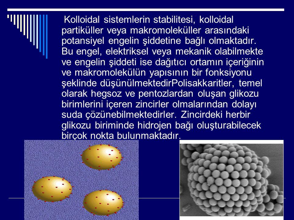 Kolloidal sistemlerin stabilitesi, kolloidal partiküller veya makromoleküller arasındaki potansiyel engelin şiddetine bağlı olmaktadır.