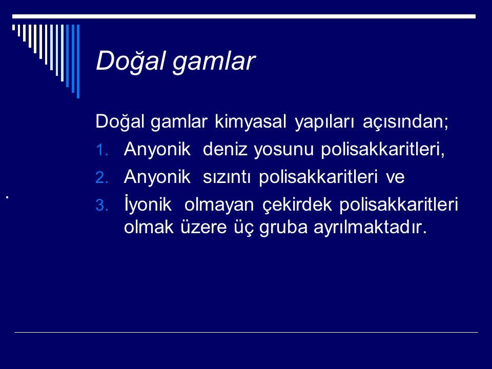 Doğal gamlar Doğal gamlar kimyasal yapıları açısından;