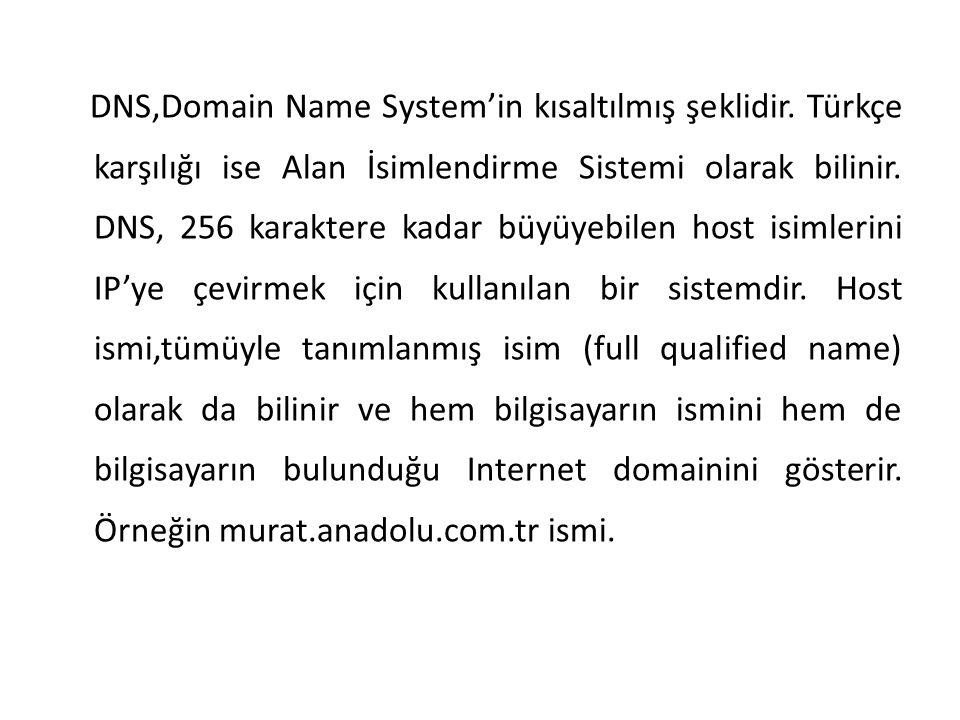 DNS,Domain Name System'in kısaltılmış şeklidir