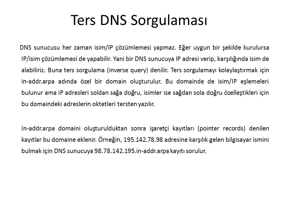 Ters DNS Sorgulaması