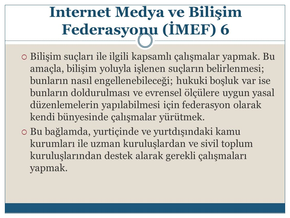 Internet Medya ve Bilişim Federasyonu (İMEF) 6