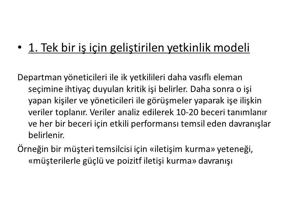 1. Tek bir iş için geliştirilen yetkinlik modeli