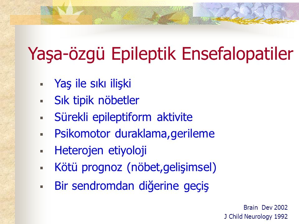 Yaşa-özgü Epileptik Ensefalopatiler