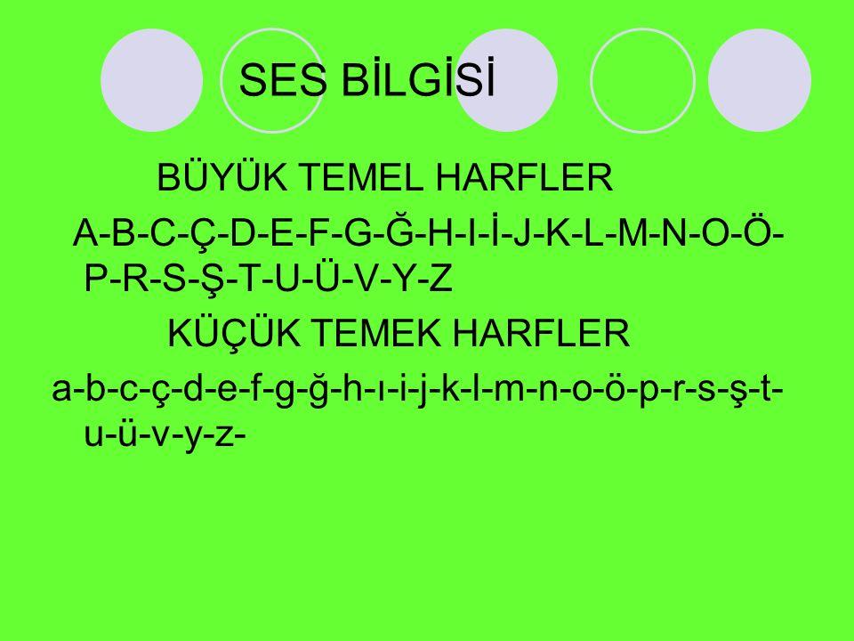SES BİLGİSİ BÜYÜK TEMEL HARFLER