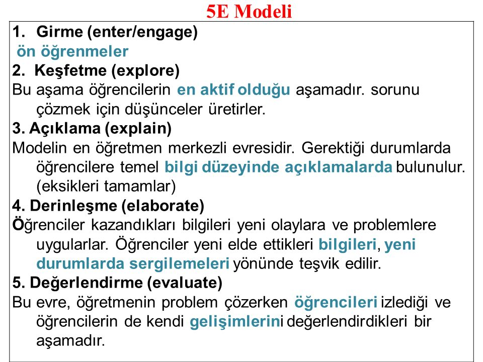 5E Modeli Girme (enter/engage) ön öğrenmeler 2. Keşfetme (explore)