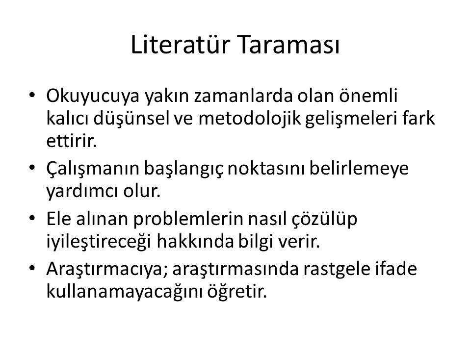 Literatür Taraması Okuyucuya yakın zamanlarda olan önemli kalıcı düşünsel ve metodolojik gelişmeleri fark ettirir.