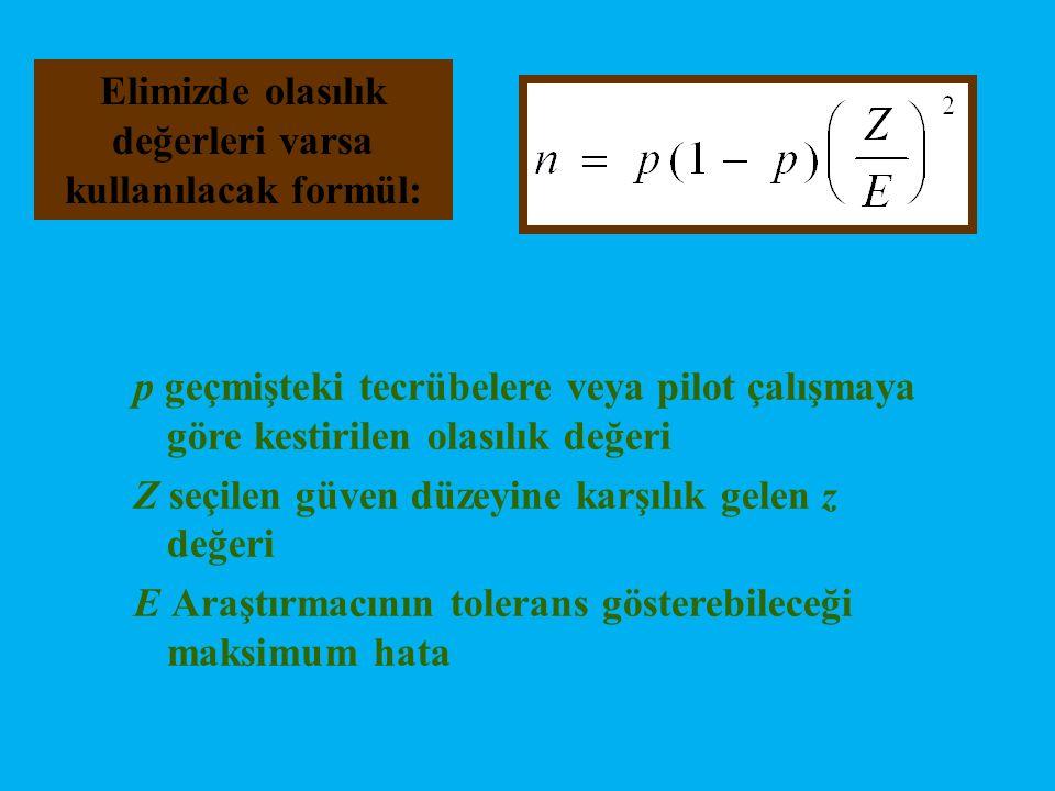 Elimizde olasılık değerleri varsa kullanılacak formül: