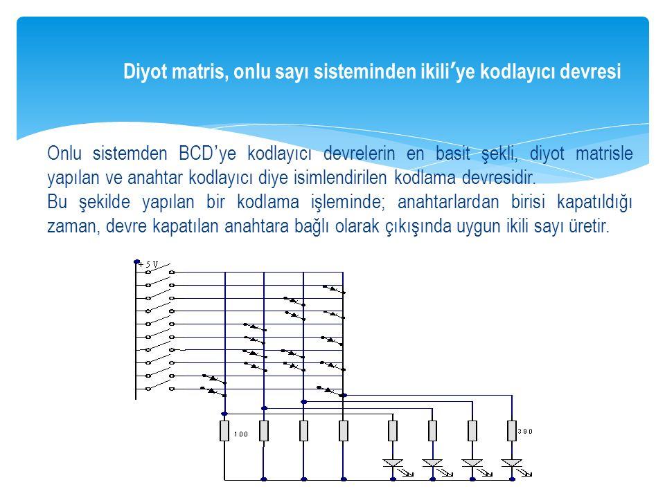 Diyot matris, onlu sayı sisteminden ikili'ye kodlayıcı devresi