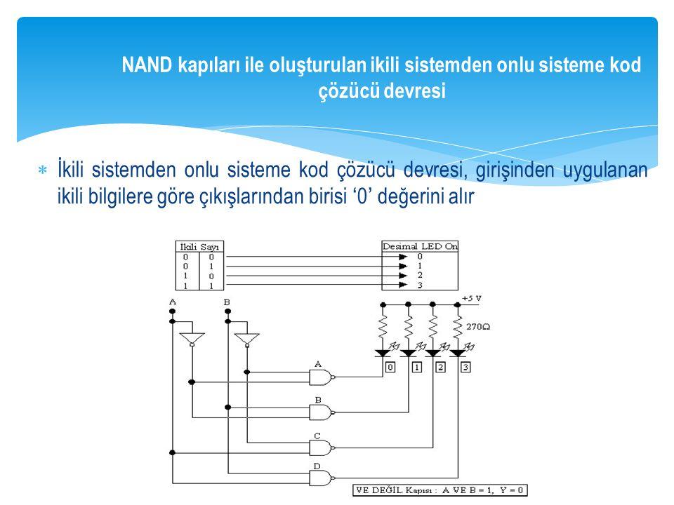 NAND kapıları ile oluşturulan ikili sistemden onlu sisteme kod çözücü devresi