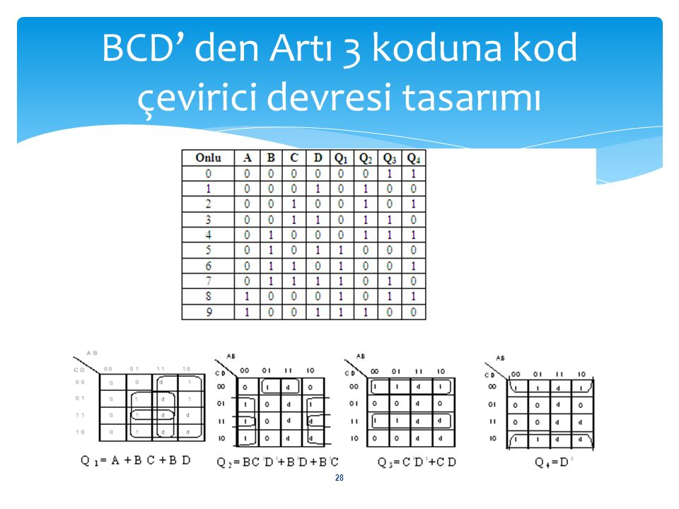 BCD' den Artı 3 koduna kod çevirici devresi tasarımı