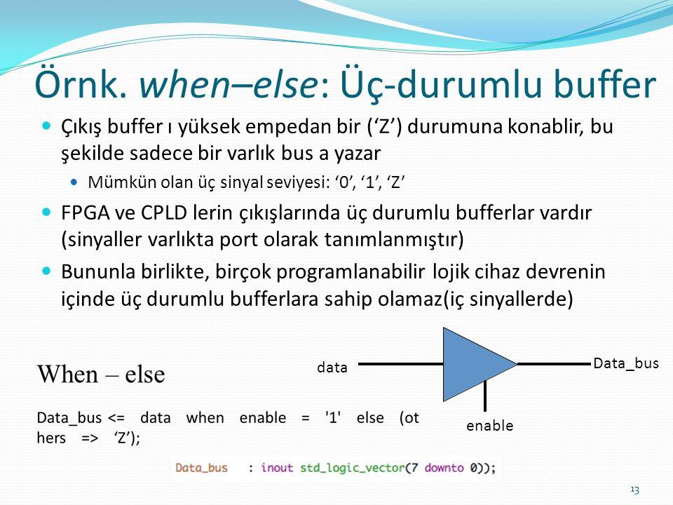 Örnk. when–else: Üç-durumlu buffer