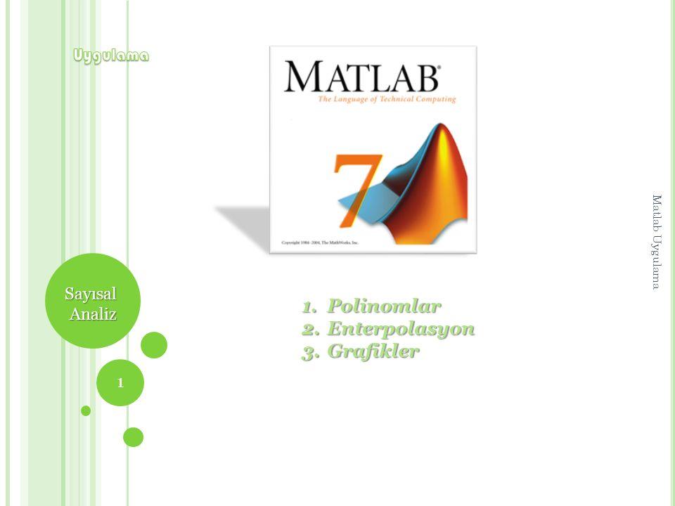 Polinomlar Enterpolasyon Grafikler Uygulama Sayısal Analiz