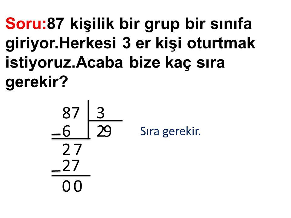 Soru:87 kişilik bir grup bir sınıfa giriyor