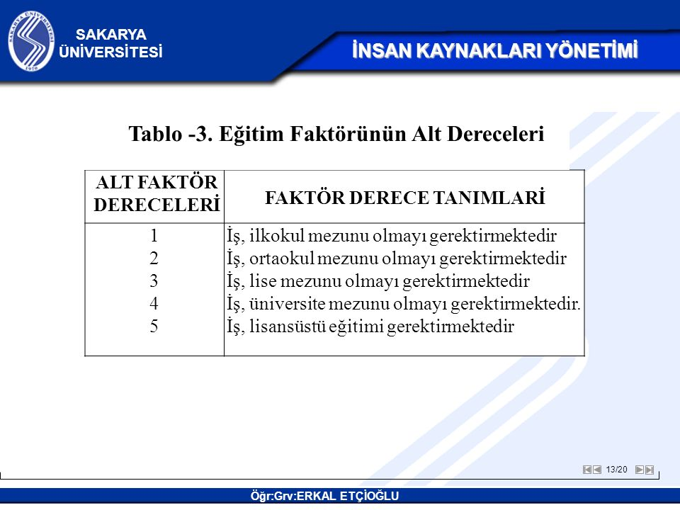 FAKTÖR DERECE TANIMLARİ