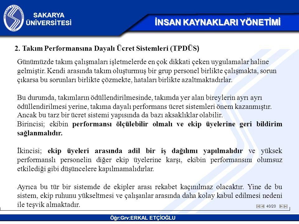 2. Takım Performansına Dayalı Ücret Sistemleri (TPDÜS)