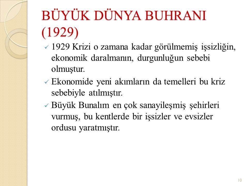 BÜYÜK DÜNYA BUHRANI (1929) 1929 Krizi o zamana kadar görülmemiş işsizliğin, ekonomik daralmanın, durgunluğun sebebi olmuştur.