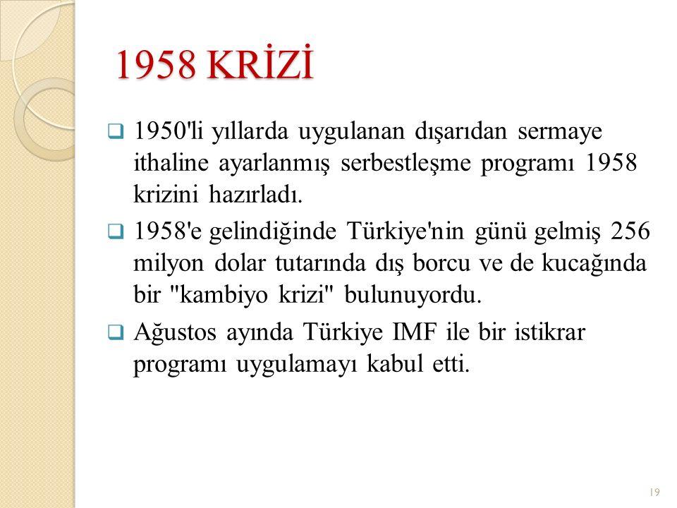 1958 KRİZİ 1950 li yıllarda uygulanan dışarıdan sermaye ithaline ayarlanmış serbestleşme programı 1958 krizini hazırladı.
