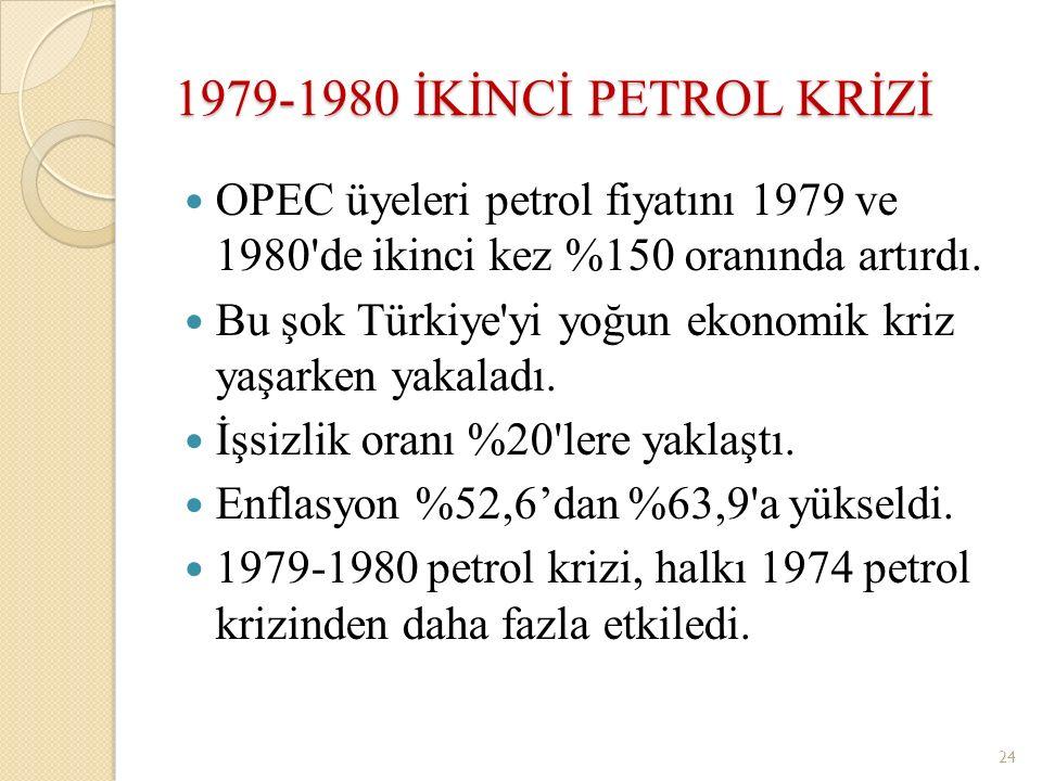 1979-1980 İKİNCİ PETROL KRİZİ OPEC üyeleri petrol fiyatını 1979 ve 1980 de ikinci kez %150 oranında artırdı.