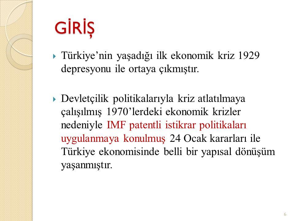 GİRİŞ Türkiye'nin yaşadığı ilk ekonomik kriz 1929 depresyonu ile ortaya çıkmıştır.