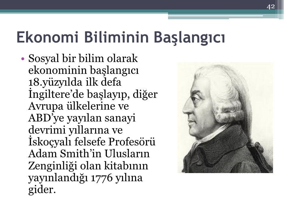 Ekonomi Biliminin Başlangıcı