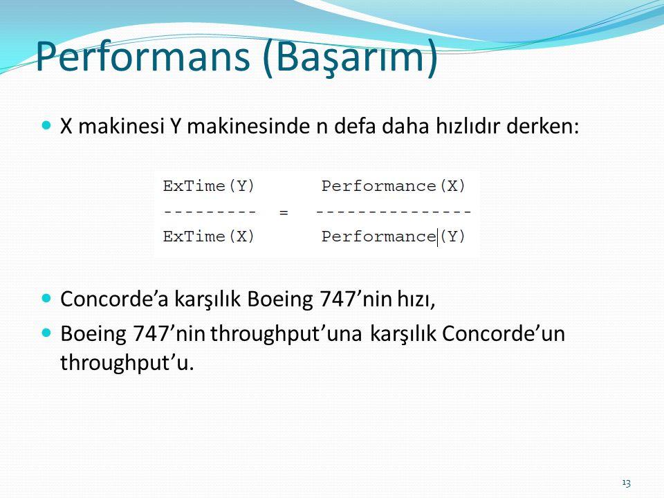 Performans (Başarım) X makinesi Y makinesinde n defa daha hızlıdır derken: Concorde'a karşılık Boeing 747'nin hızı,