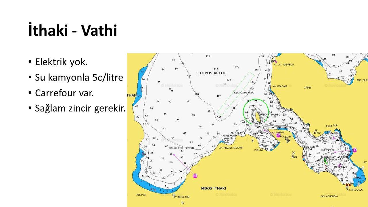 İthaki - Vathi Elektrik yok. Su kamyonla 5c/litre Carrefour var.