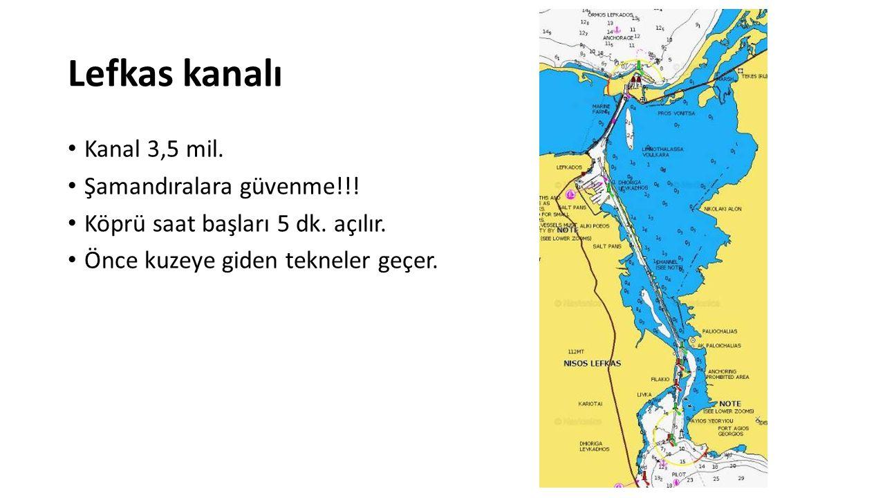 Lefkas kanalı Kanal 3,5 mil. Şamandıralara güvenme!!!