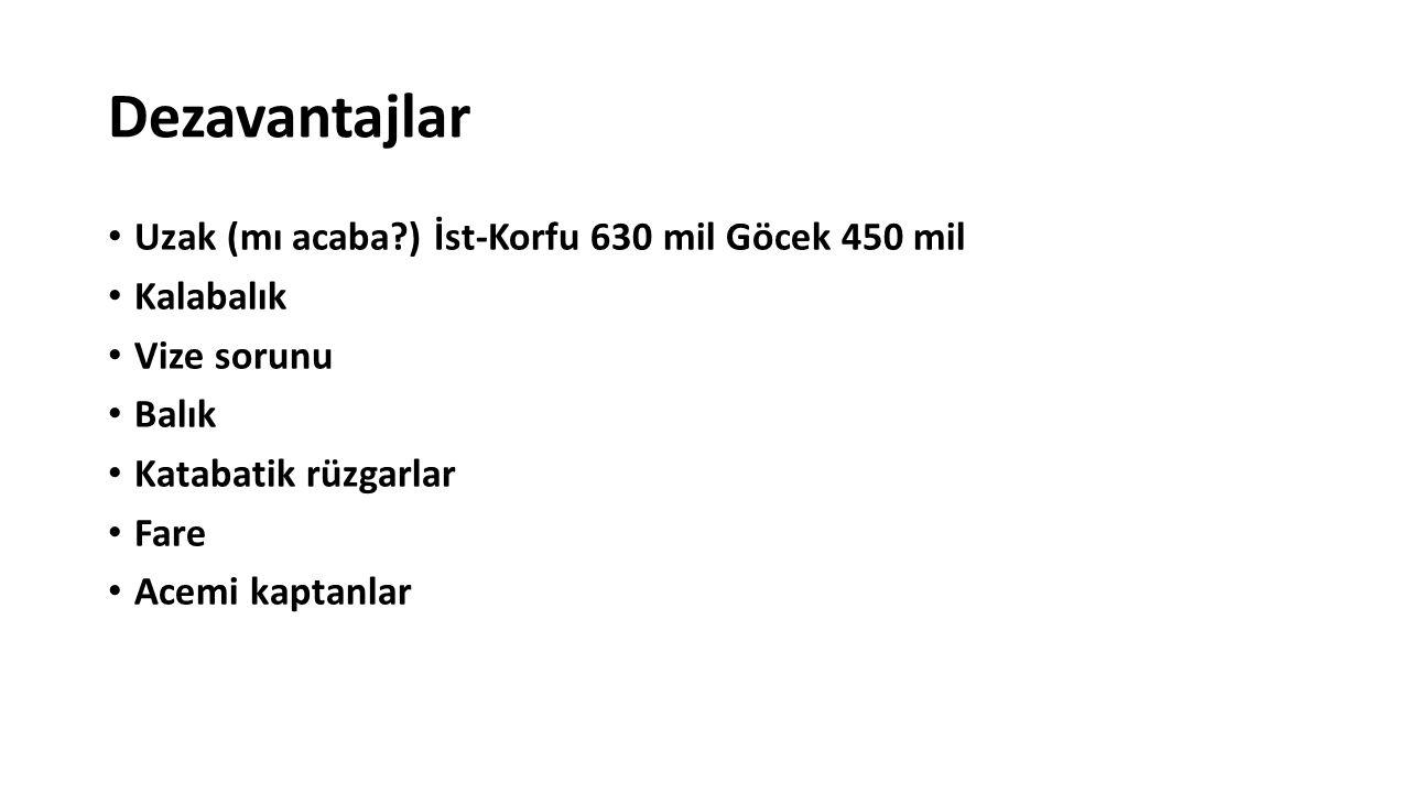 Dezavantajlar Uzak (mı acaba ) İst-Korfu 630 mil Göcek 450 mil