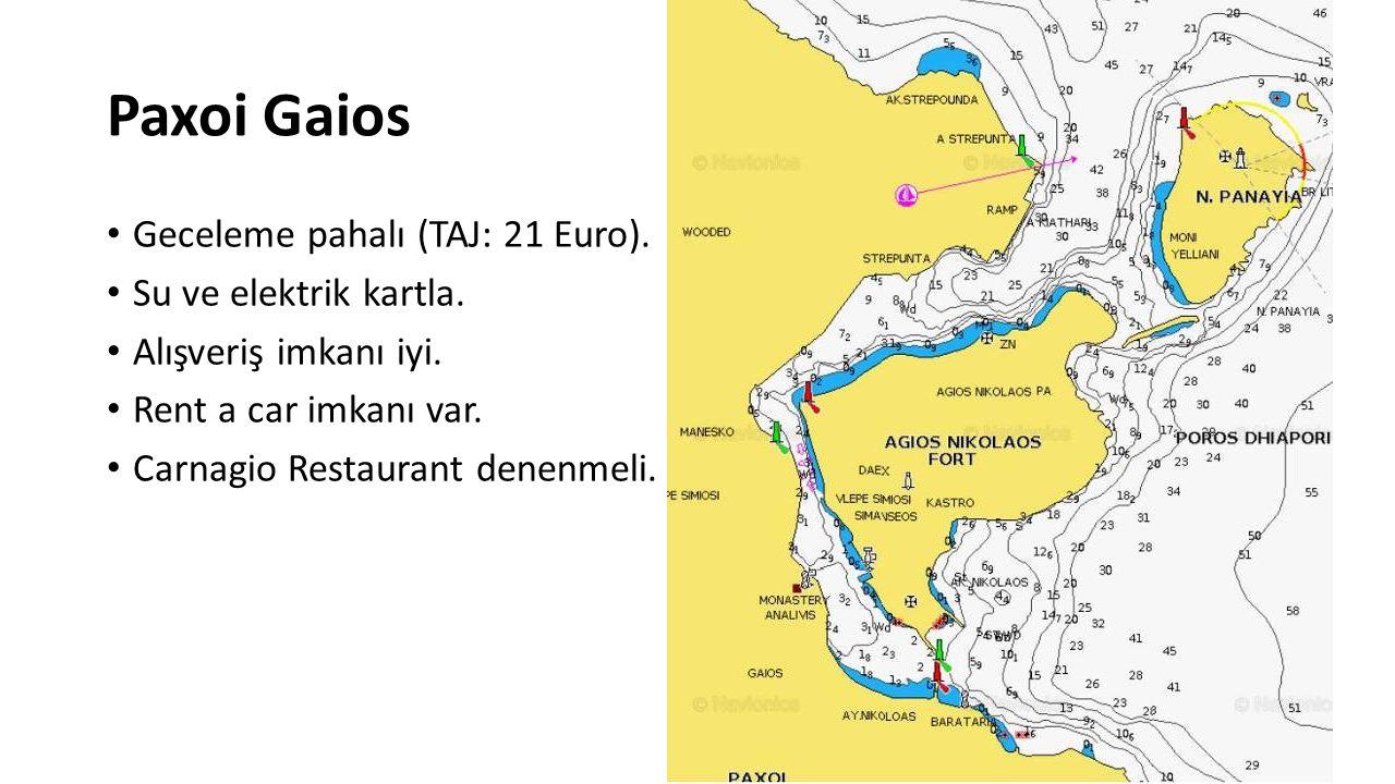 Paxoi Gaios Geceleme pahalı (TAJ: 21 Euro). Su ve elektrik kartla.