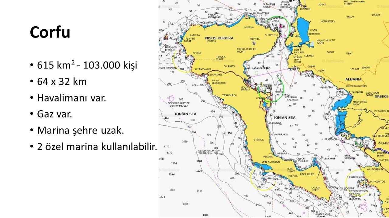 Corfu 615 km2 - 103.000 kişi 64 x 32 km Havalimanı var. Gaz var.