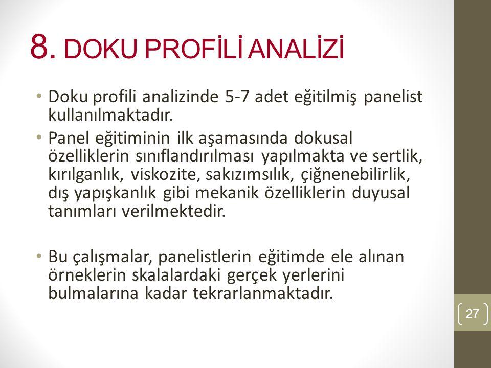 8. DOKU PROFİLİ ANALİZİ Doku profili analizinde 5-7 adet eğitilmiş panelist kullanılmaktadır.