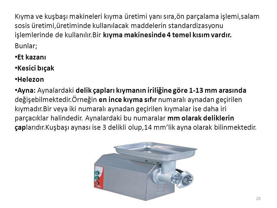 Kıyma ve kuşbaşı makineleri kıyma üretimi yanı sıra,ön parçalama işlemi,salam sosis üretimi,üretiminde kullanılacak maddelerin standardizasyonu işlemlerinde de kullanılır.Bir kıyma makinesinde 4 temel kısım vardır.