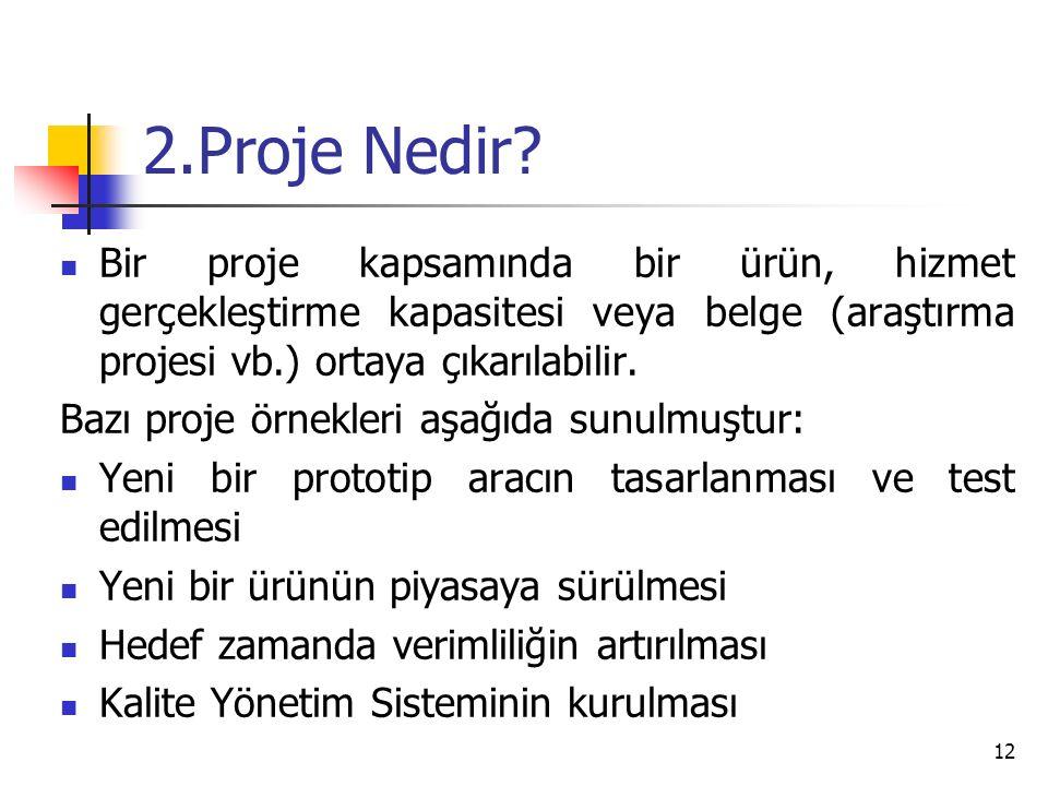 2.Proje Nedir Bir proje kapsamında bir ürün, hizmet gerçekleştirme kapasitesi veya belge (araştırma projesi vb.) ortaya çıkarılabilir.