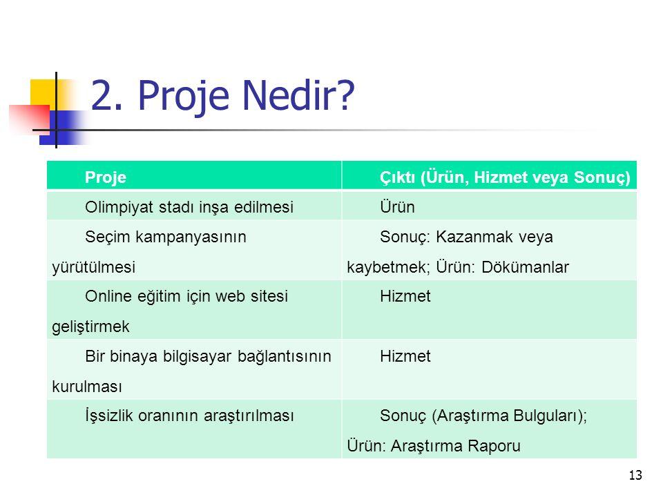 2. Proje Nedir Proje Çıktı (Ürün, Hizmet veya Sonuç)
