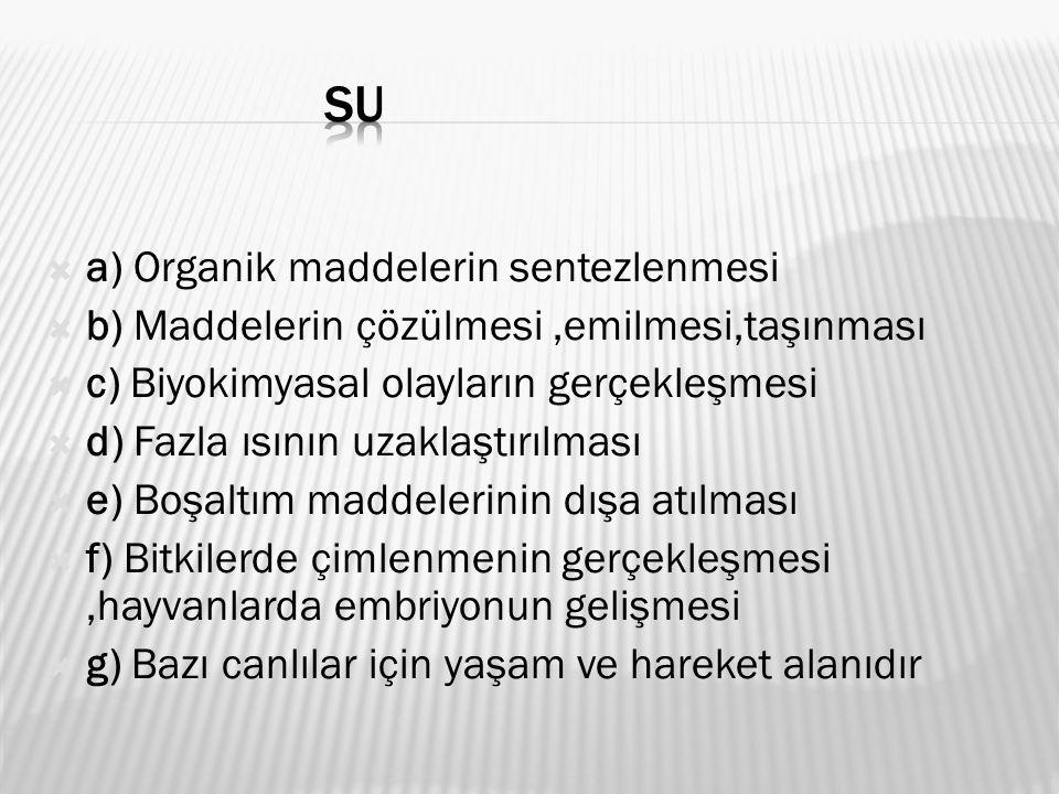 SU a) Organik maddelerin sentezlenmesi